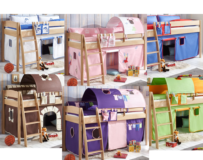 hochbett michelle 20711 kinderbett bett kinderzimmer stoffset pirat ebay. Black Bedroom Furniture Sets. Home Design Ideas