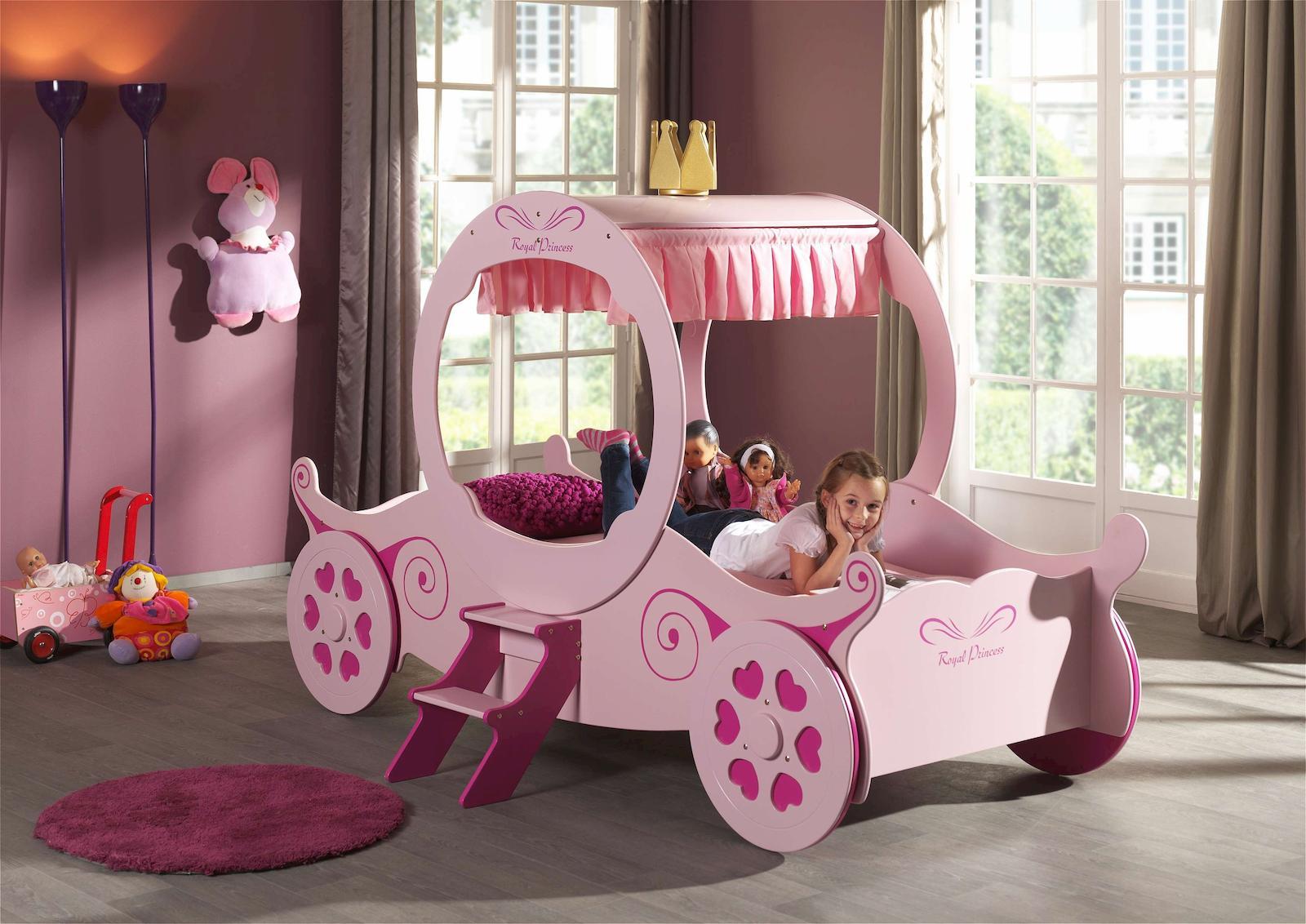 Kutschenbett Royal Princess Kate Kinderbett Bett Rosa Kids / Teens ...