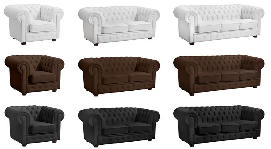 nottingham 3er sofa chesterfield couch kunstleder wei. Black Bedroom Furniture Sets. Home Design Ideas