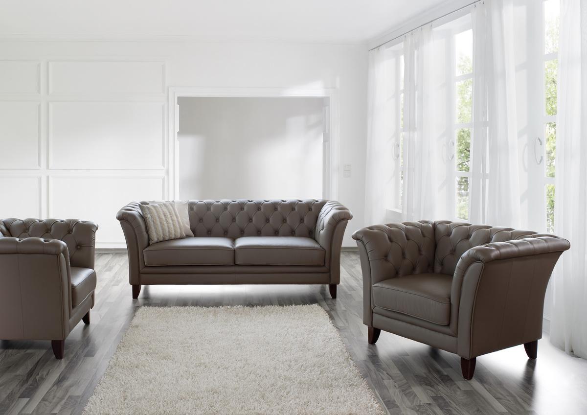barnsley 2er sofa chesterfield couch leder stone grau ebay. Black Bedroom Furniture Sets. Home Design Ideas