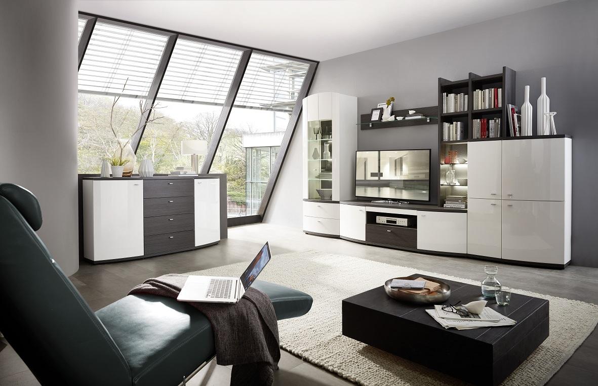 bregenz 82 wohnwand 4 tlg wei anthrazit montiert sch ner wohnen wohnw nde. Black Bedroom Furniture Sets. Home Design Ideas