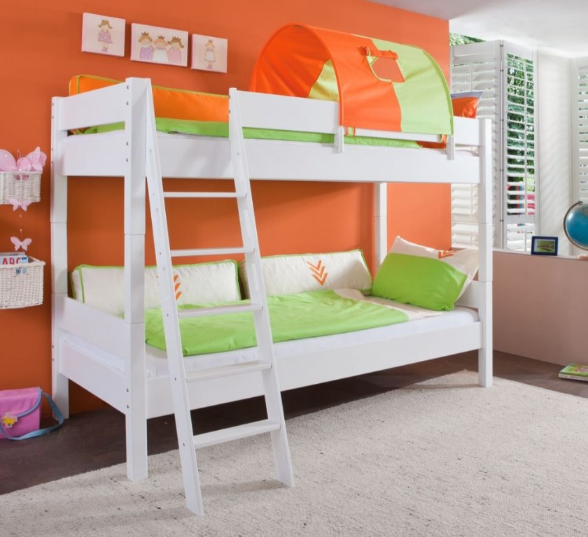 etagenbett stefan hochbett stockbett kinderzimmer wei stoffset gr n orange kids teens betten. Black Bedroom Furniture Sets. Home Design Ideas