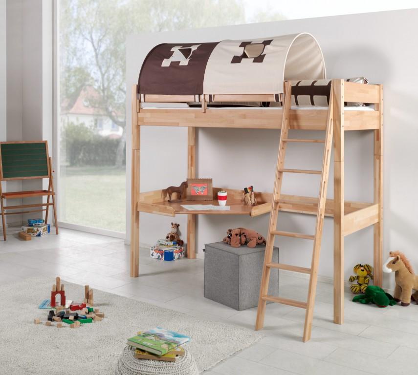hochbett renate multifunktionsbett mit schreibtisch bett buche stoffset burg kids teens betten. Black Bedroom Furniture Sets. Home Design Ideas