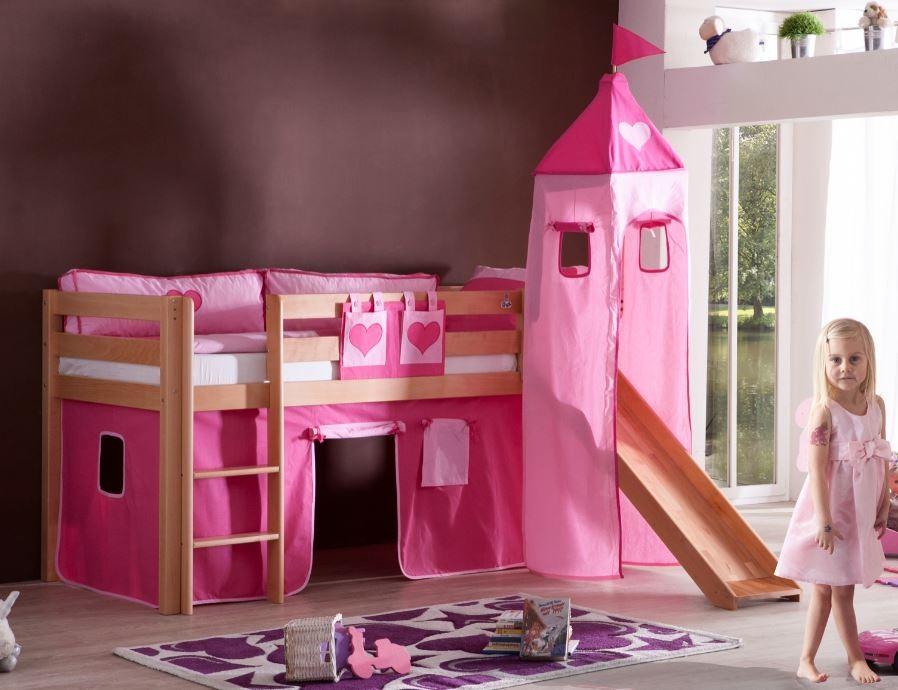 hochbett alex kinderbett mit rutsche spielbett bett natur stoffset pink herz kids teens betten. Black Bedroom Furniture Sets. Home Design Ideas