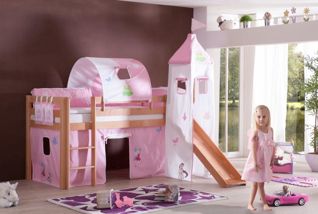 hochbett alex kinderbett mit rutsche spielbett bett natur stoffset prinzessin kids teens. Black Bedroom Furniture Sets. Home Design Ideas