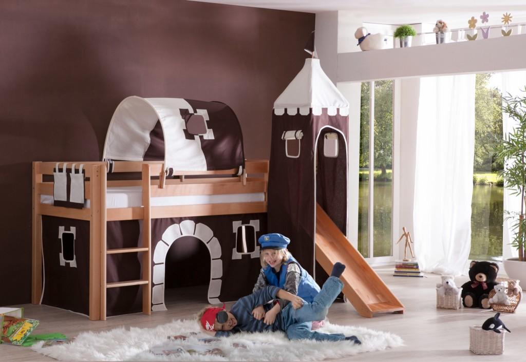 hochbett alex kinderbett mit rutsche spielbett bett natur stoffset burg kids teens betten. Black Bedroom Furniture Sets. Home Design Ideas