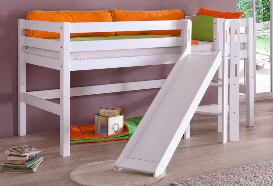 hochbett eliyas kinderbett mit rutsche spielbett bett wei. Black Bedroom Furniture Sets. Home Design Ideas