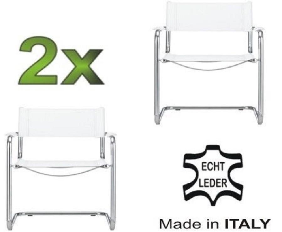2x delta freischwinger klassiker besucherstuhl echt leder wei b ro st hle besucher konferenzstuhl. Black Bedroom Furniture Sets. Home Design Ideas