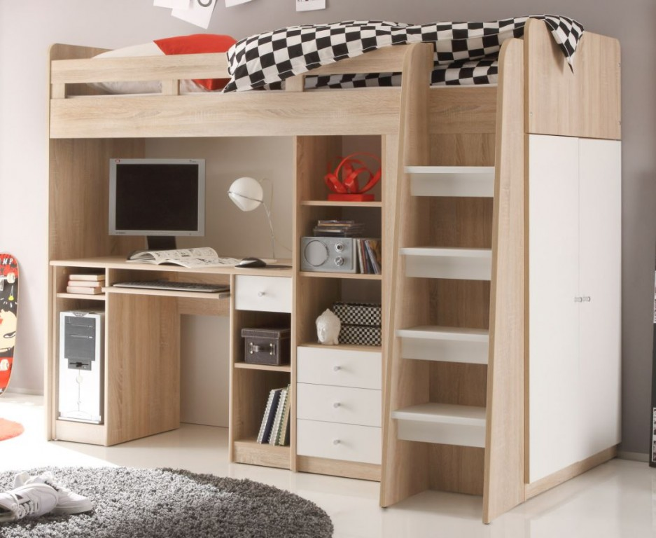 multifunktionsbett unit etagenbett kinderbett bett kinder eiche sonoma kids teens betten. Black Bedroom Furniture Sets. Home Design Ideas