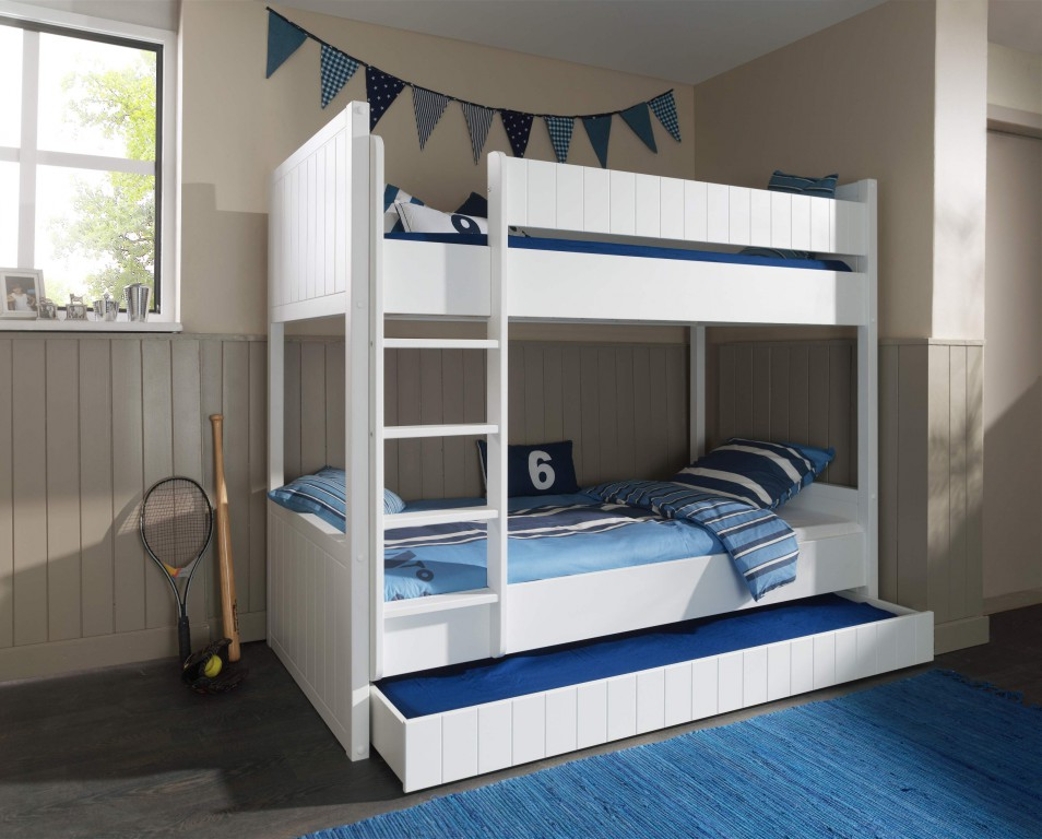 hochbett robin kinderbett etagenbett bett wei kids teens betten etagenbetten. Black Bedroom Furniture Sets. Home Design Ideas