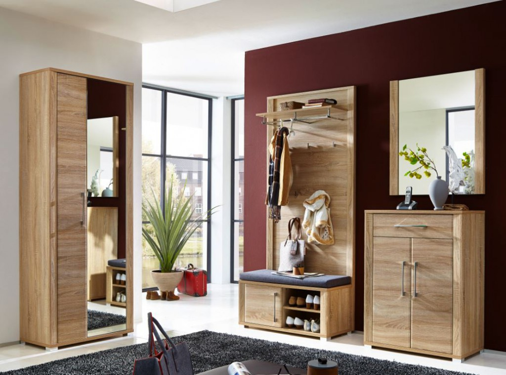 go sitzbank garderobenbank schuhbank eiche sonoma diele flur schuhbank. Black Bedroom Furniture Sets. Home Design Ideas
