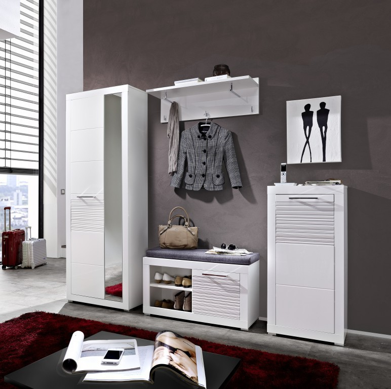 life schuhbank bank garderobe wei hochglanz diele flur schuhbank. Black Bedroom Furniture Sets. Home Design Ideas