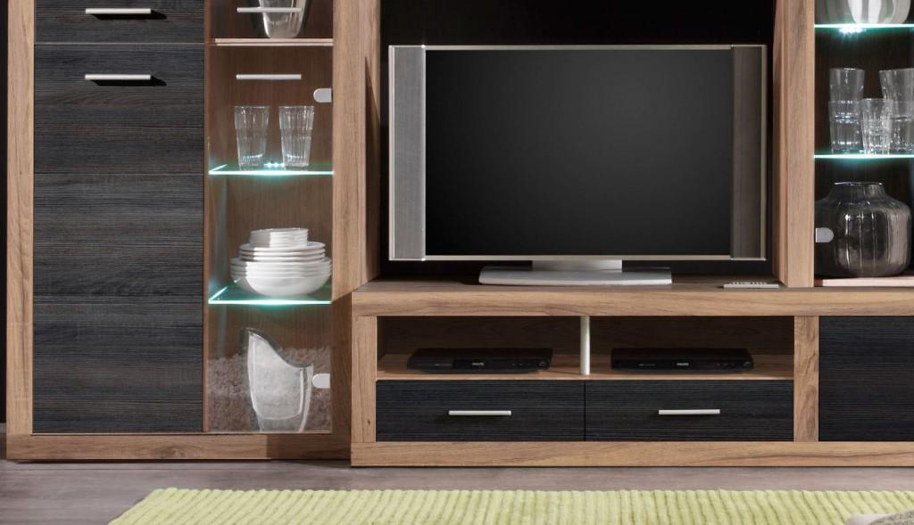 wohnwand anbauwand wohnzimmerset can can nussbaum inkl beleuchtung sch ner wohnen wohnw nde. Black Bedroom Furniture Sets. Home Design Ideas