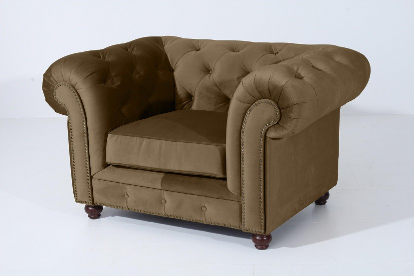 salford einzelsessel chesterfield sessel einzelsofa samtvelours sahara braun polsterm bel. Black Bedroom Furniture Sets. Home Design Ideas