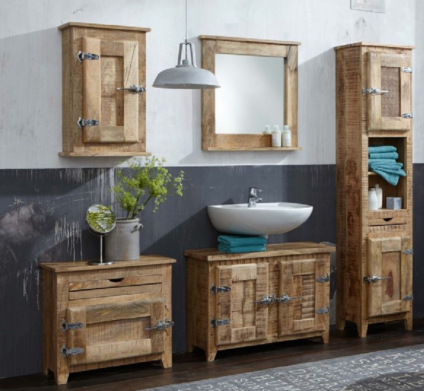 frigo komplett set badezimmer waschtisch mangoholz massiv ebay. Black Bedroom Furniture Sets. Home Design Ideas