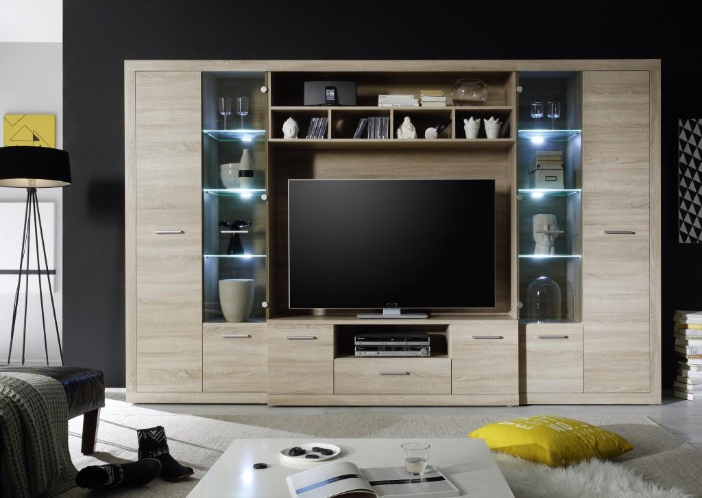 high wohnwand anbauwand wohnzimmerset eiche sonoma inkl beleuchtung sch ner wohnen wohnw nde. Black Bedroom Furniture Sets. Home Design Ideas