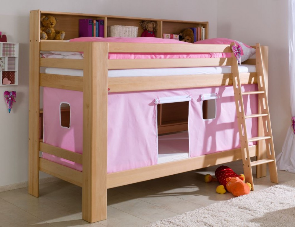 etagenbett jan kinderbett spielbett bett mit b cherregal buche rosa wei kids teens betten. Black Bedroom Furniture Sets. Home Design Ideas