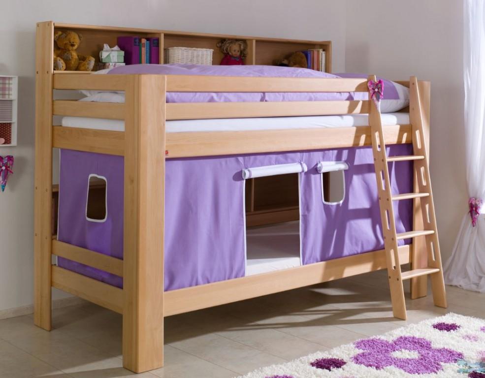 etagenbett jan kinderbett spielbett bett mit b cherregal buche lila wei kids teens betten. Black Bedroom Furniture Sets. Home Design Ideas