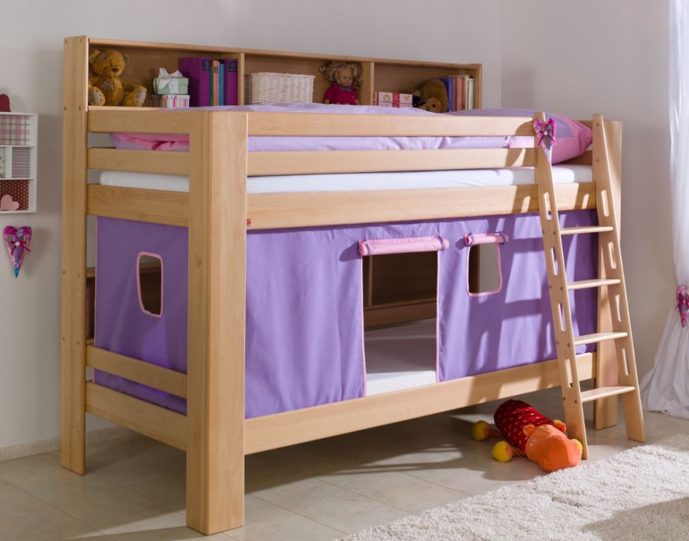 etagenbett jan kinderbett spielbett bett mit b cherregal buche lila rosa kids teens betten. Black Bedroom Furniture Sets. Home Design Ideas