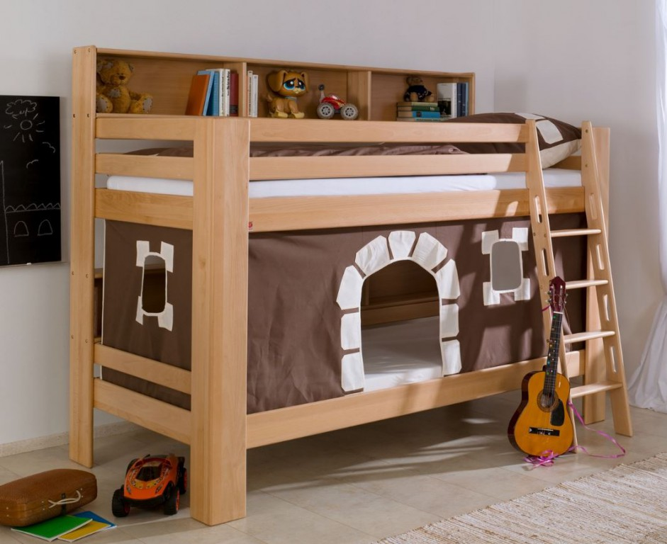 etagenbett jan kinderbett spielbett bett mit b cherregal buche burg braun wei kids teens. Black Bedroom Furniture Sets. Home Design Ideas