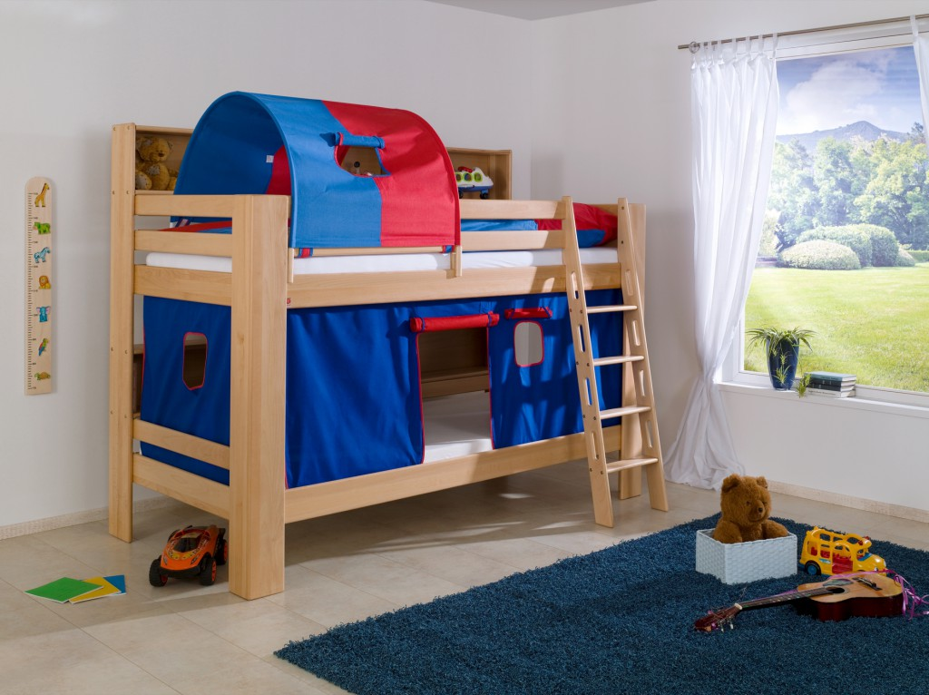 etagenbett jan kinderbett spielbett bett mit b cherregal buche blau rot kids teens betten. Black Bedroom Furniture Sets. Home Design Ideas
