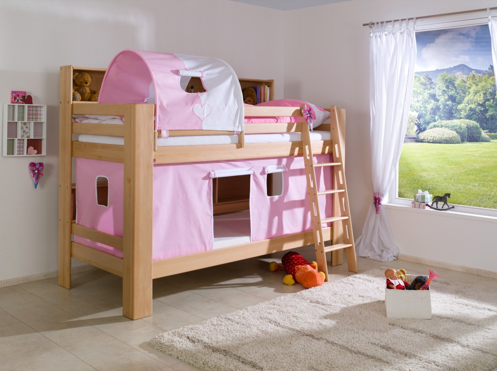 etagenbett jan kinderbett spielbett bett mit b cherregal buche herz rosa wei kids teens. Black Bedroom Furniture Sets. Home Design Ideas