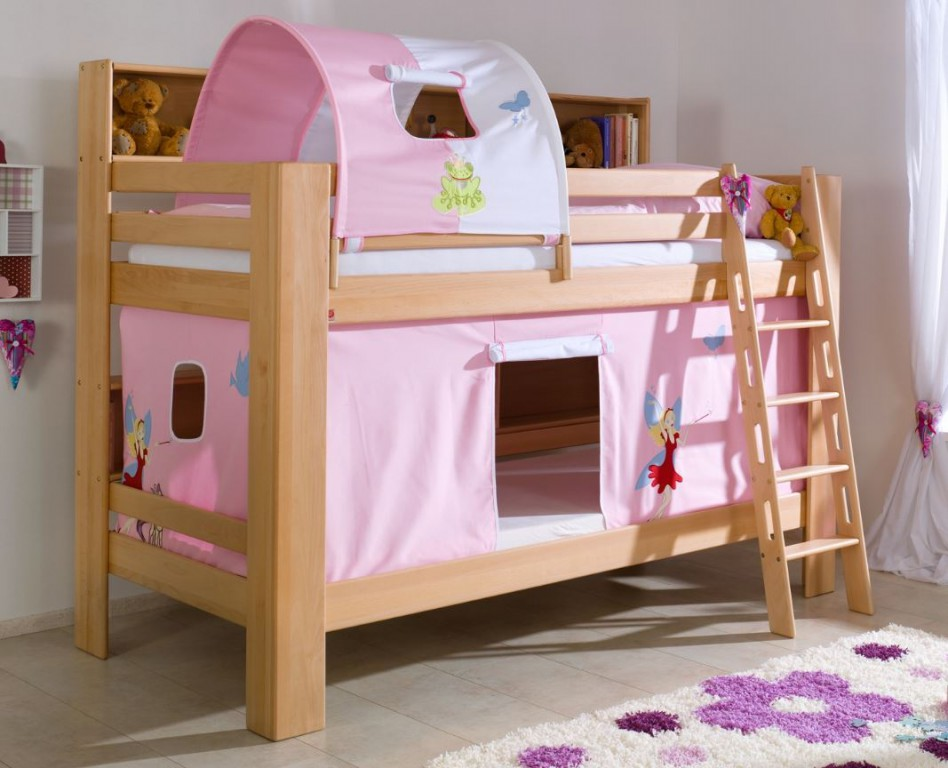 etagenbett jan kinderbett spielbett bett mit b cherregal buche prinzessin rosa wei kids teens. Black Bedroom Furniture Sets. Home Design Ideas