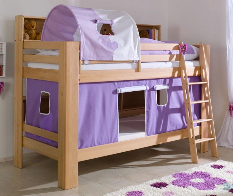 etagenbett jan kinderbett spielbett bett mit b cherregal buche herz lila wei kids teens. Black Bedroom Furniture Sets. Home Design Ideas