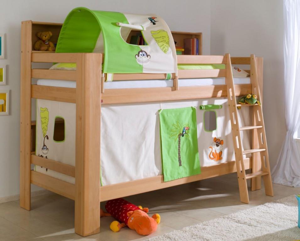 etagenbett jan kinderbett spielbett bett mit b cherregal buche dschungel beige gr n kids teens. Black Bedroom Furniture Sets. Home Design Ideas