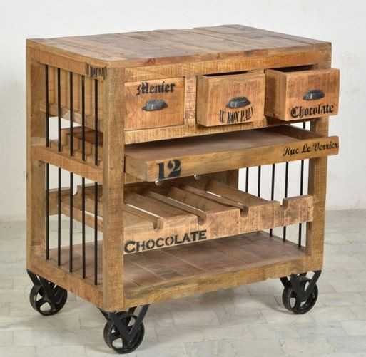 rustic k chenwagen kommode schrank k che wein regal holz ebay. Black Bedroom Furniture Sets. Home Design Ideas