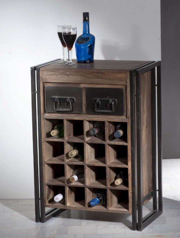 wohnzimmer regal holz:PANAMA Weinregal Regal Wein Flur Wohnzimmer Holz Metall This & That  ~ wohnzimmer regal holz