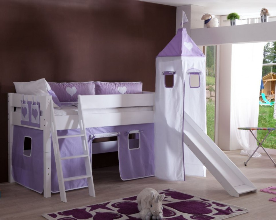 hochbett kim kinderbett spielbett bett inklusive rutsche stoffset wei herz lila wei kids. Black Bedroom Furniture Sets. Home Design Ideas