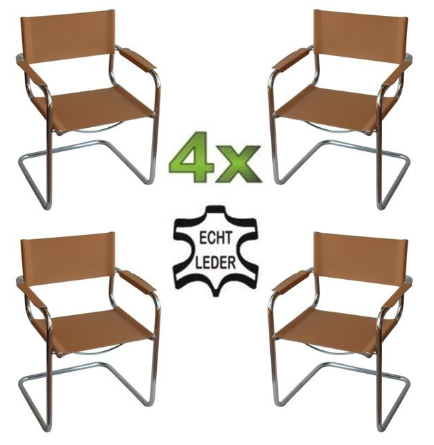 4x delta freischwinger klassiker besucherstuhl echt leder natur b ro st hle besucher konferenzstuhl. Black Bedroom Furniture Sets. Home Design Ideas