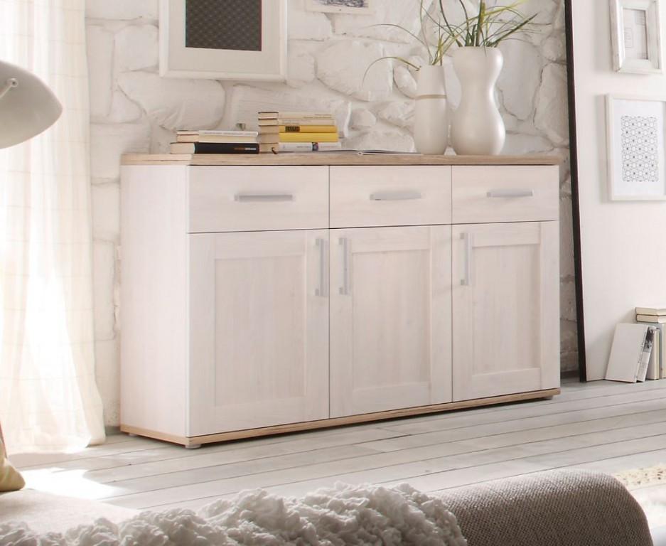 romance sideboard kommode anrichte wei absetzung san remo hell sch ner wohnen sideboards. Black Bedroom Furniture Sets. Home Design Ideas