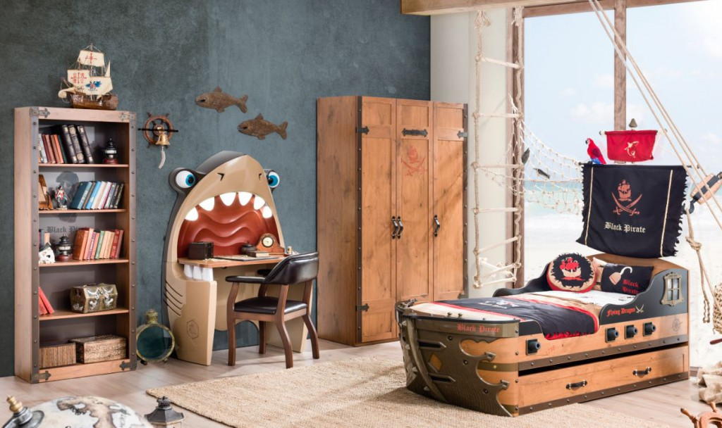Cilek black pirate kinderzimmer inkl matratze komplettset - Piratenbett kinderzimmer ...