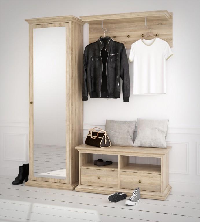paris kleiderschrank spiegelet renschrank schrank schlafzimmer eiche struktur diele flur. Black Bedroom Furniture Sets. Home Design Ideas