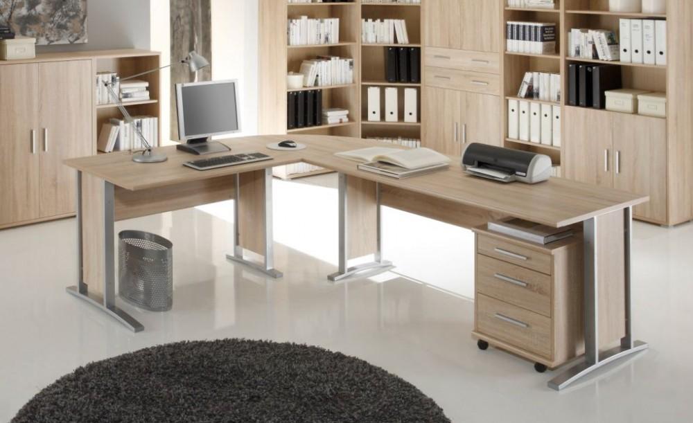 winkelkombination 3 tlg office line mit rollcontainer eiche sonoma b ro schreibtische. Black Bedroom Furniture Sets. Home Design Ideas