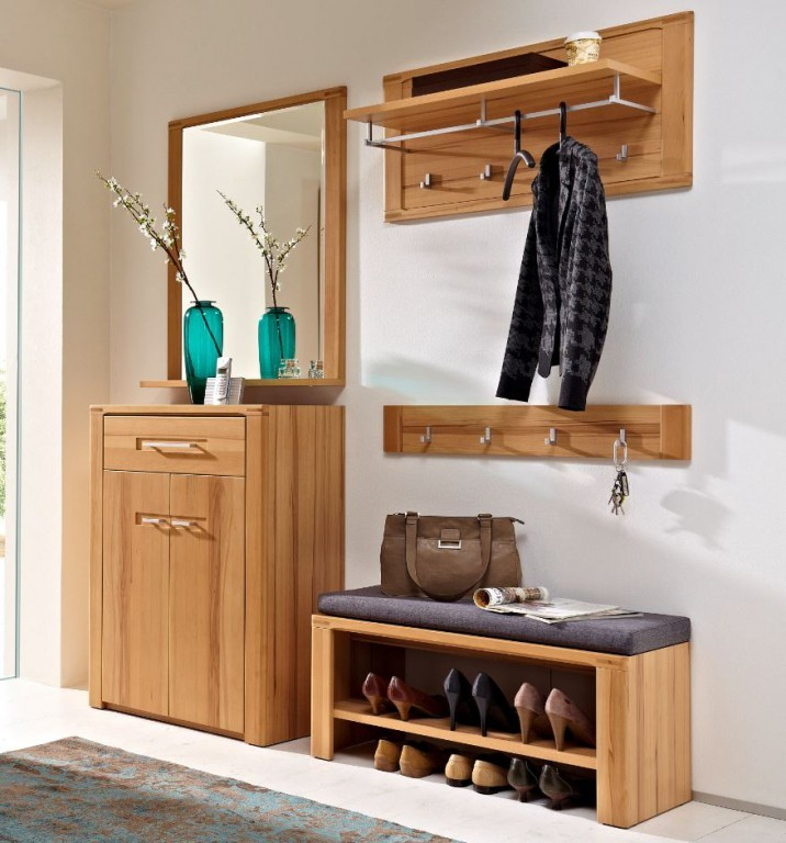 5 tlg nature plus garderoben kombination garderobe for Garderobe natur
