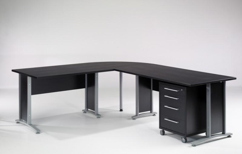 prima winkelkombination schreibtisch eckschreibtisch b rotisch mit rollcontainer schwarz b ro. Black Bedroom Furniture Sets. Home Design Ideas