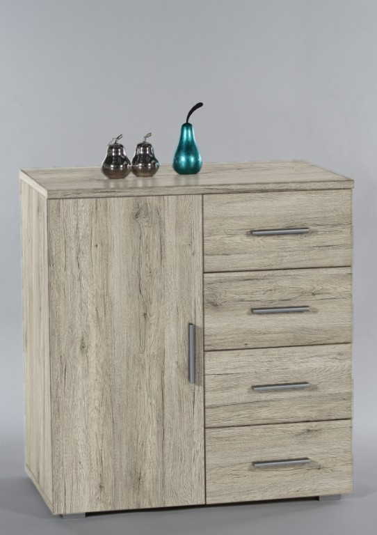 kommode pedro 3 sideboard eiche san remo hell ebay. Black Bedroom Furniture Sets. Home Design Ideas