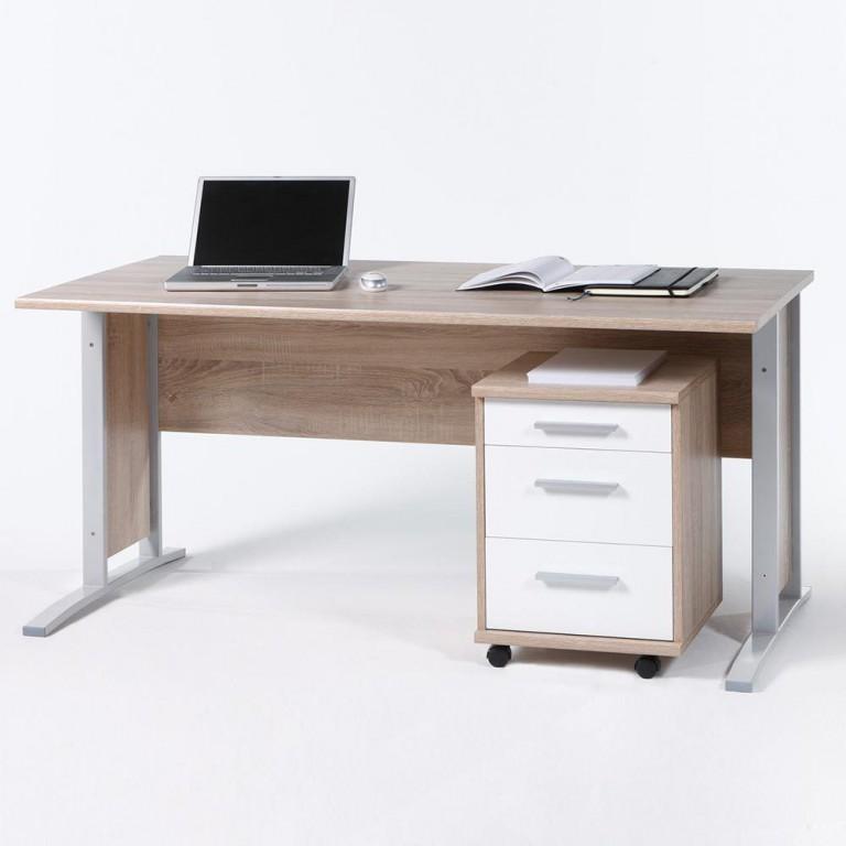 schreibtisch office line mit rollcontainer eiche sonoma front wei b ro schreibtische b rotisch. Black Bedroom Furniture Sets. Home Design Ideas