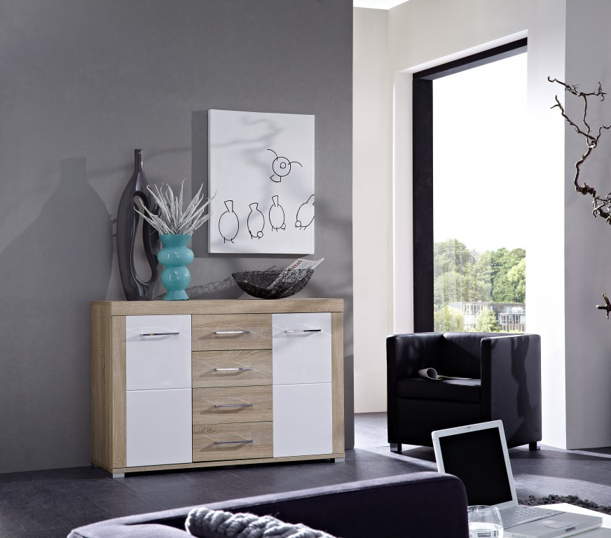 drive plus sideboard sonoma eiche hell dekor schrank regal. Black Bedroom Furniture Sets. Home Design Ideas