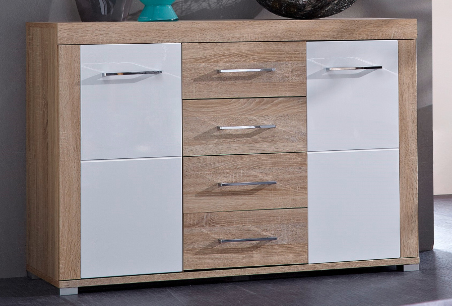 Drive plus sideboard sonoma eiche hell dekor schrank regal for Kommode 140 x 100