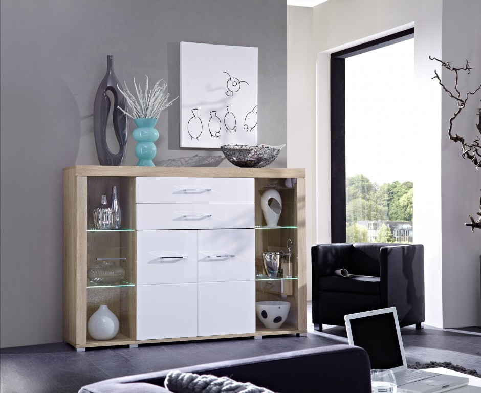 drive plus highboard sonoma eiche hell dekor schrank regal kommode sideboard sch ner wohnen. Black Bedroom Furniture Sets. Home Design Ideas