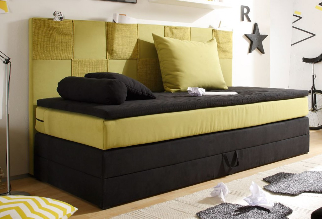 kids pocket boxspringbett mit bettkasten jugendbett 90x200 cm bett kinderbett schwarz gr n gelb. Black Bedroom Furniture Sets. Home Design Ideas